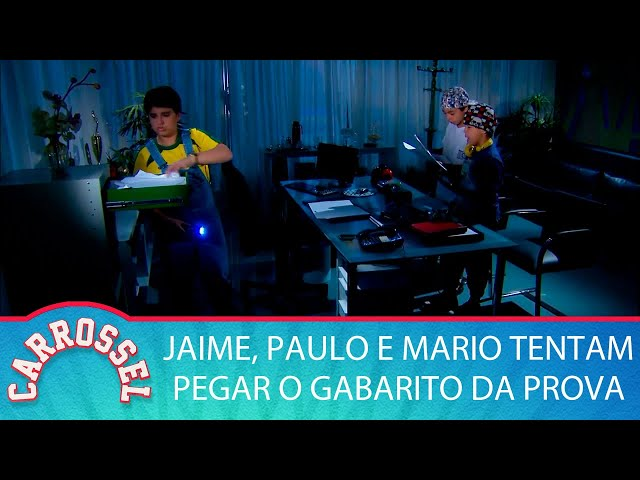 Carrossel | Jaime, Paulo e Mario tentar pegar o gabarito da prova