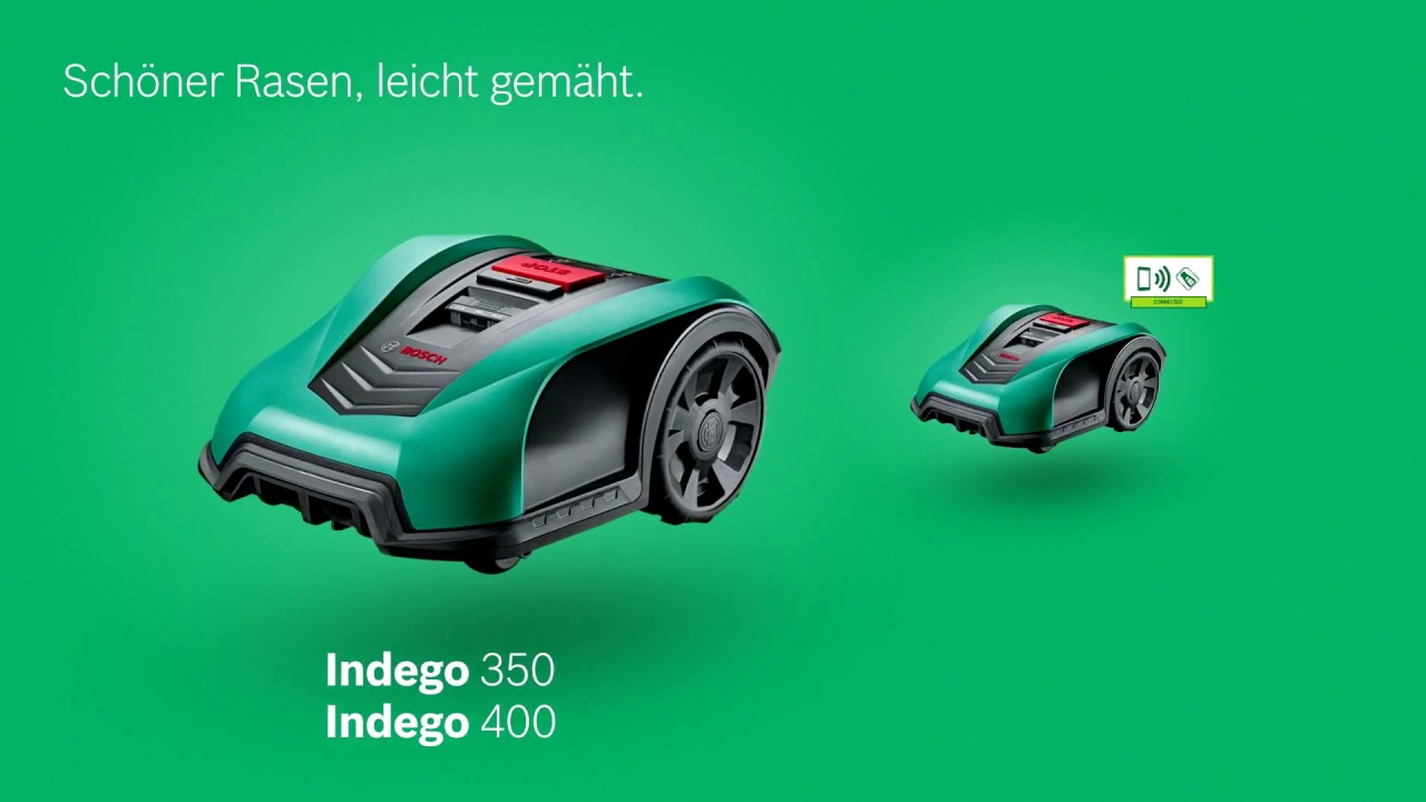 bosch stellt vor roboter rasenm her indego 350 400 connect youtube. Black Bedroom Furniture Sets. Home Design Ideas