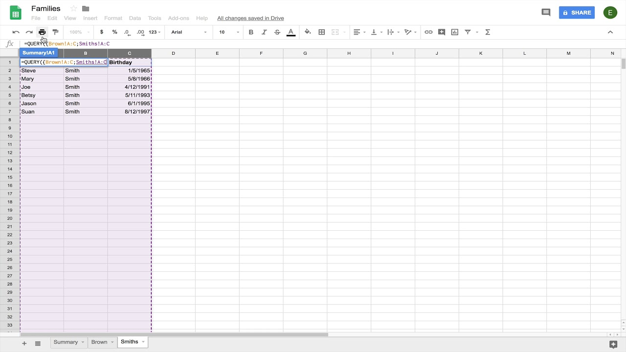How to QUERY multiple ranges in Excel or Google Sheets