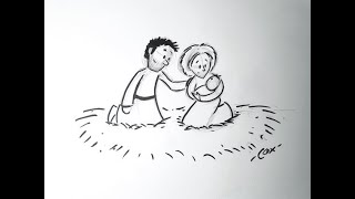 How to Draw a Christmas Scene Part 4: Drawing Baby Jesus, Mary and Joseph!