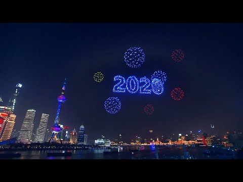 2,000 drones light up night sky in Shanghai to welcome new year