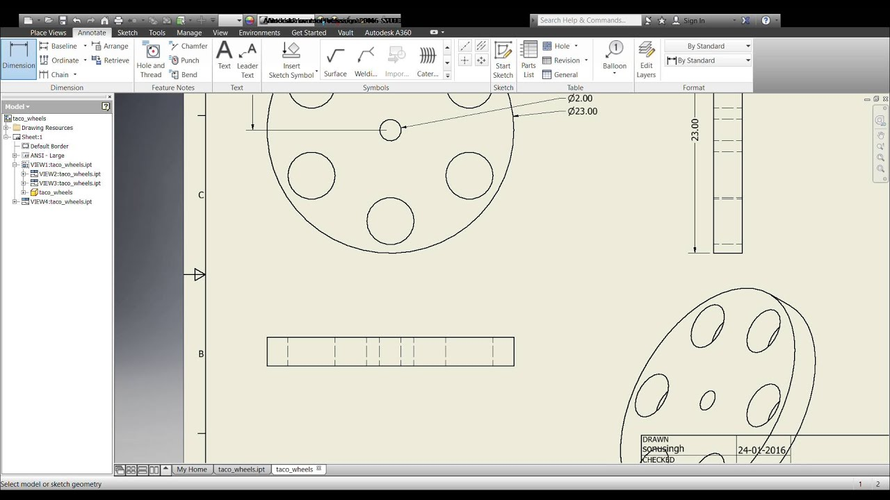 autodesk inventor how to make 2d drawing from a 3d model