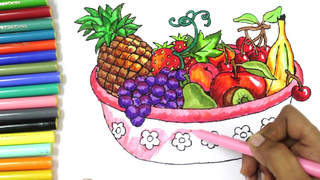 How To Draw Fruits And Vegetables And Colouring Dresses