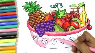 How To Draw Fruits and Vegetables and Coloring Dresses for Kids, Learn to color a fruit Basket