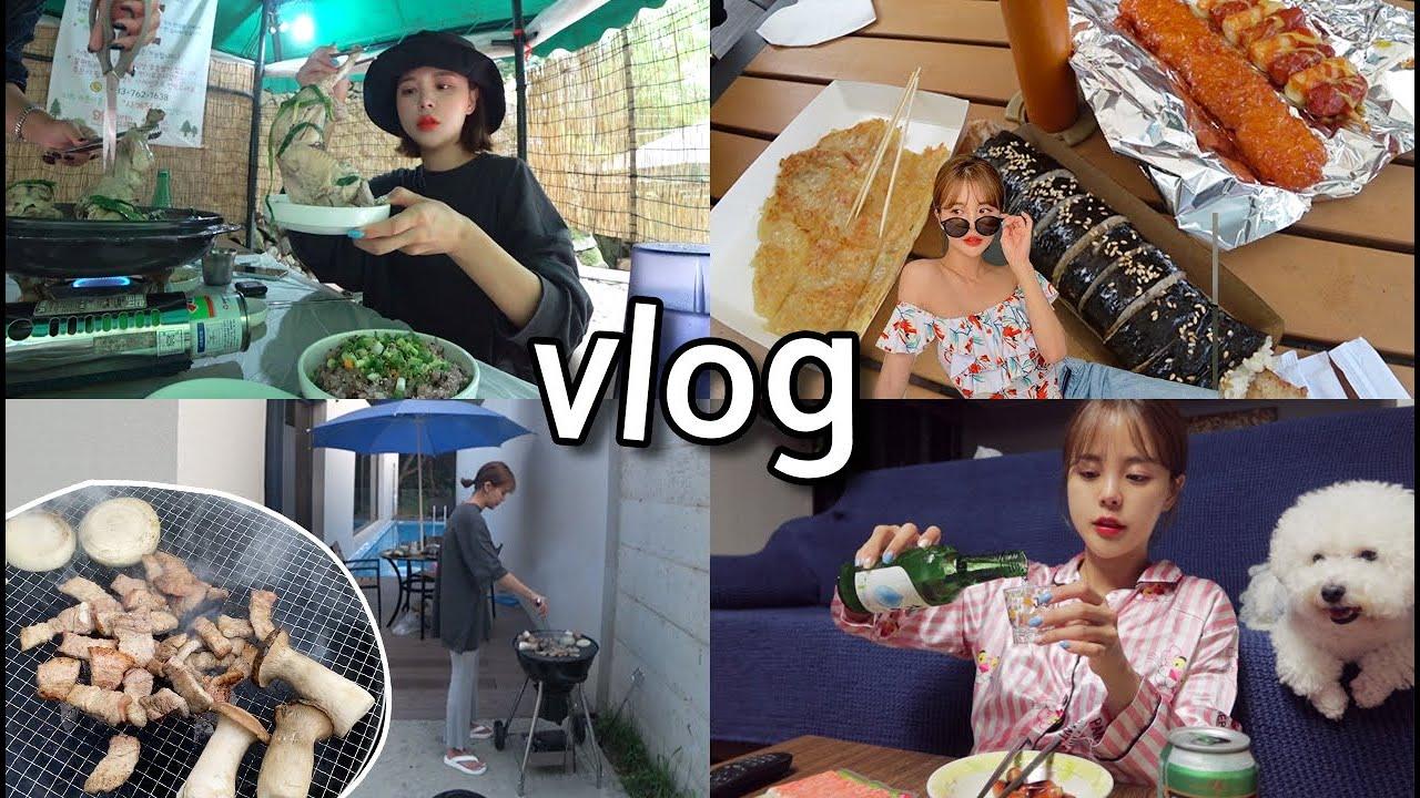 [일상vlog] 예소리 하고싶은거 다해!!!_능이백숙+휴게소음식+항정살바베큐+새벽야식+수다