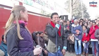 Badri & Aana singing a nepali Flok