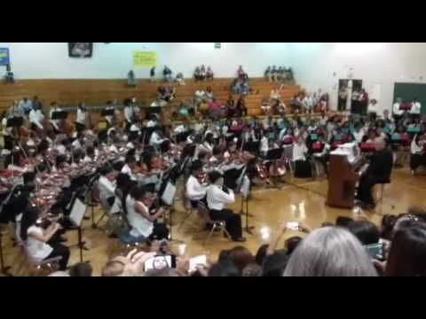 Williams middle magnet school 7th grade orchestra playing The Final Countdown 2016