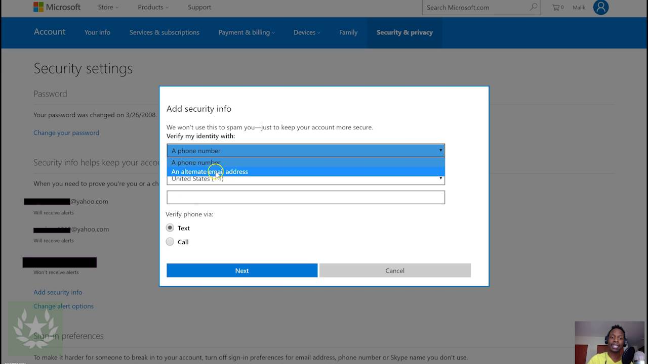 how to add security information to your microsoft account