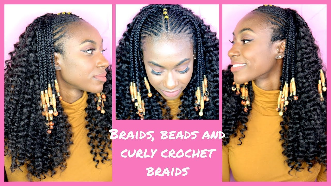 Curly Crochet Braids With Fulani Braids And Beads Ll Ft