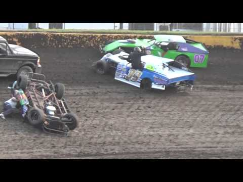 Cedar Lake Speedway Modified Crash 7 31 2014