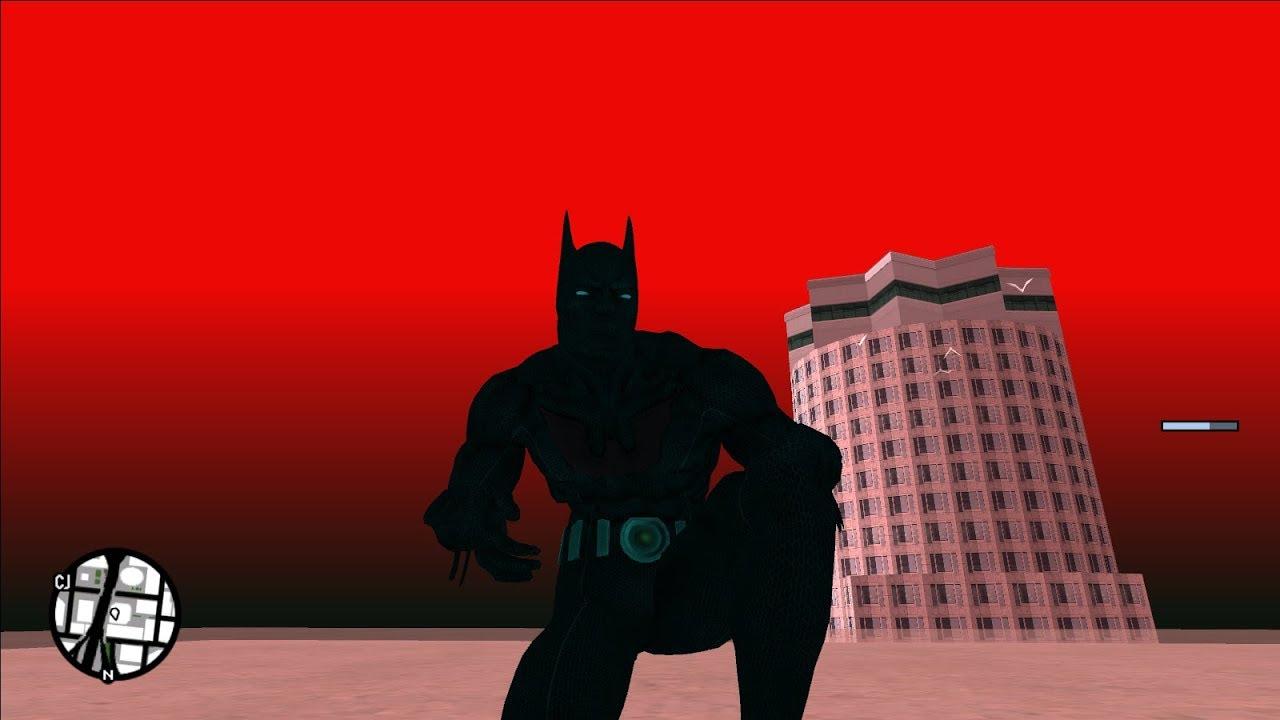 GTA San Andreas | Batman Beyond Skin, Flying Script and Red Sky Mods!