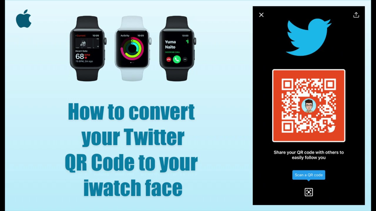 How to convert Twitter QR Code to your iWatch face
