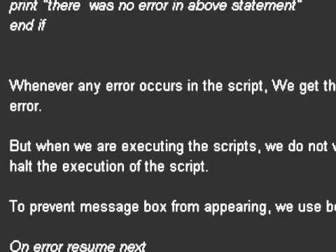 error handling in qtp youtube