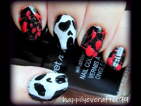 SCREAM -Ghostface & Blood Splatter- Nail Art Tutorial thumbnail
