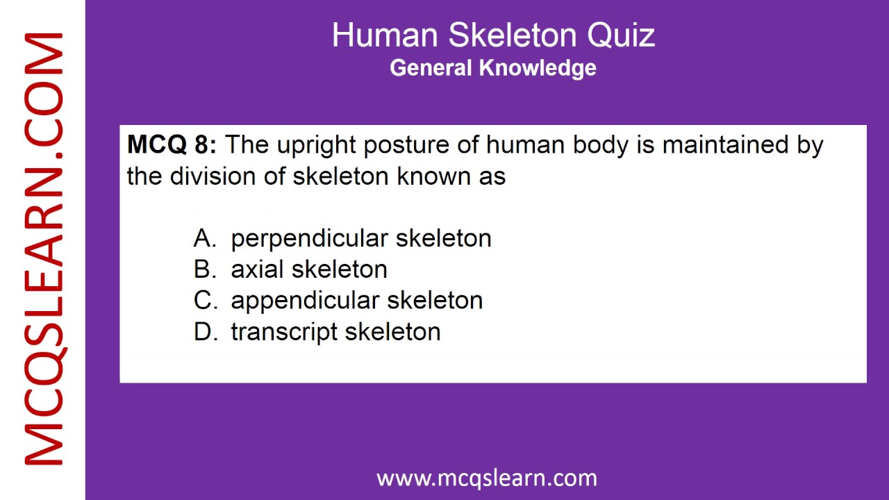 human skeleton quiz - general knowledge quiz questions and answers, Skeleton
