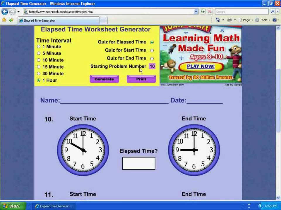 Elapsed Time Worksheet Generator Demo YouTube – Time Worksheet Generator