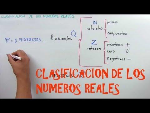 Clasificacion de los numeros reales, Racionales, Irracionales, naturales y enteros