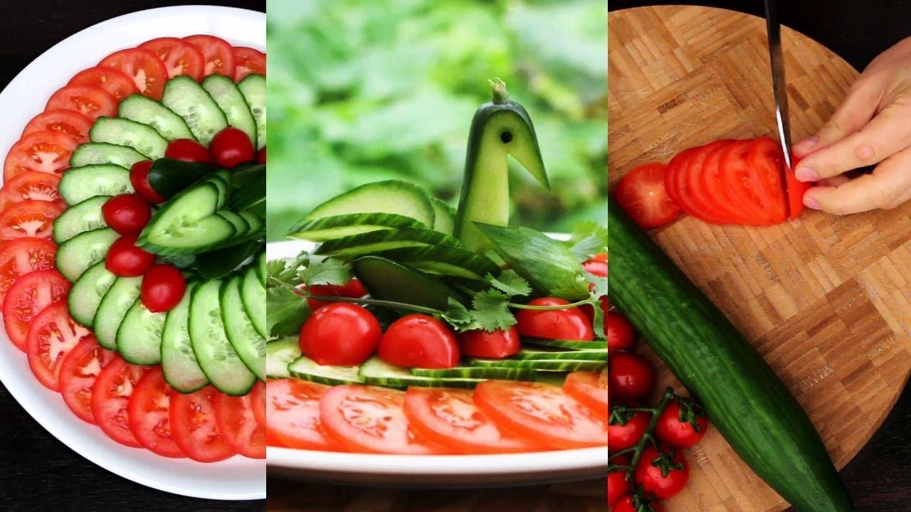 Super Salad Decoration Ideas - Cucumber Bird Carving Garnish