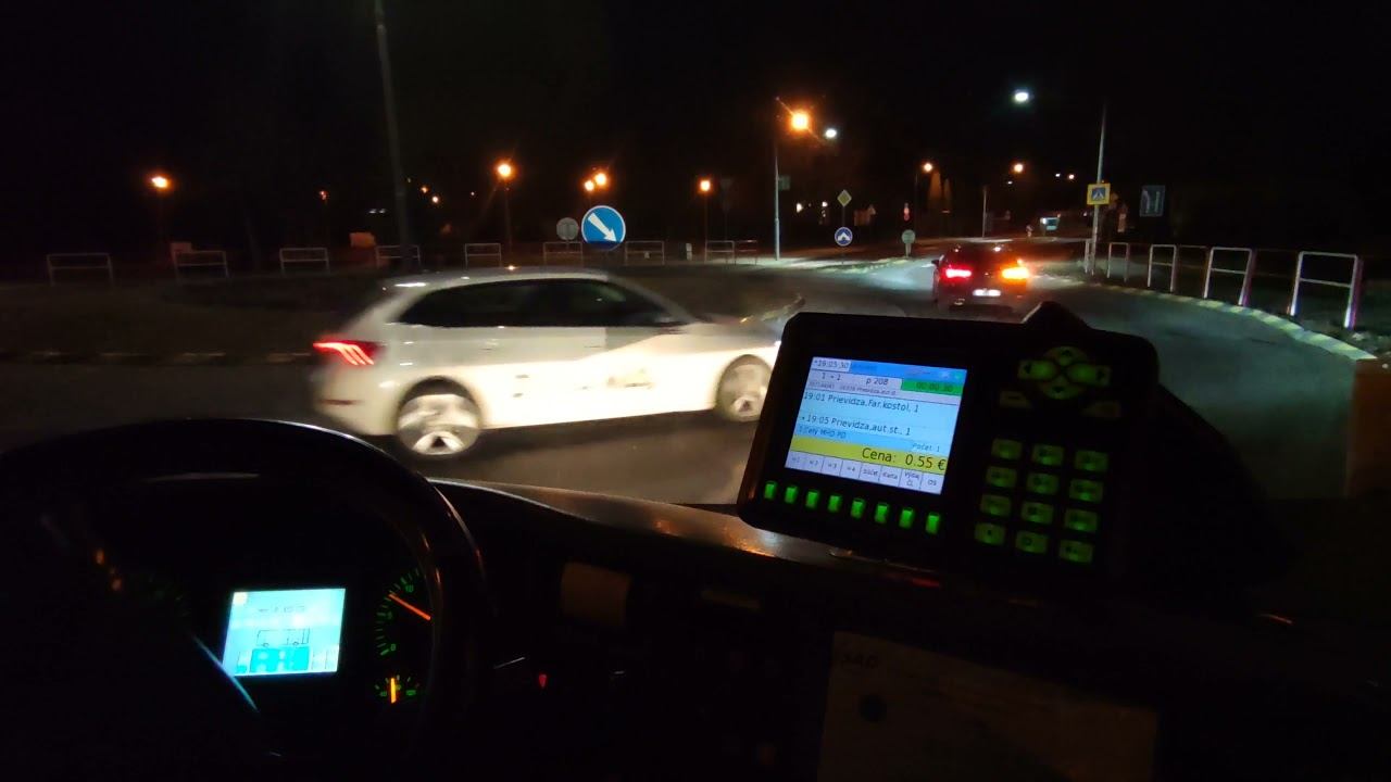 Driving at night / Bus cockipt in Prievidza / Autobus MHD