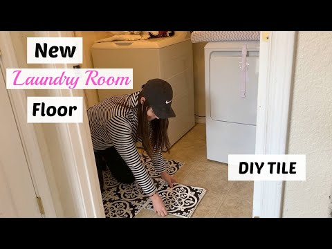DIY Patterned Floor/ How to Install Peel and Stick FloorPops