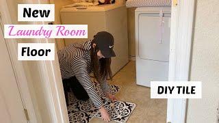 DIY Patterned Floor/ How to Install Peel and Stick FloorPops// Vinyl Tile
