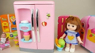 Baby Doll big refrigerator toy and Play Doh ice cream with Pororo