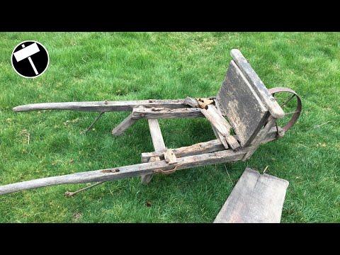 Very Damaged wooden Wheelbarrow Restoration
