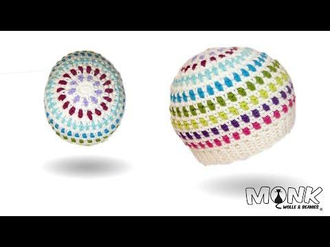 Mütze Häkeln - Moss Stitch Beanie No. 1 - Mit Farbwechsel