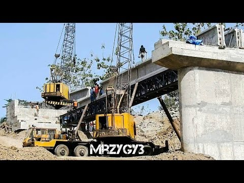 Crane Working on Bridge Construction Beam Girder Installation And Stressing