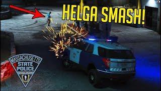 MASPRP #12: Helga SUPER-KICKS Car into Police SUV! (GTA RP)