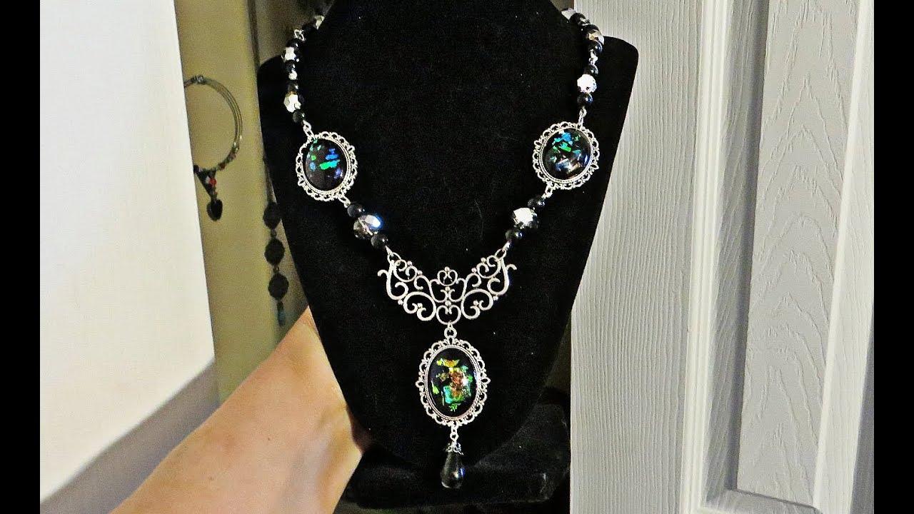 Renaissance Glass Cabochon beaded necklace tutorial
