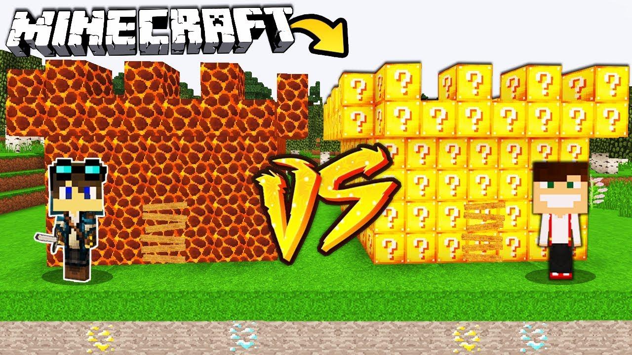 Zamek Z Magmy Vs Zamek Z Lucky Blockow W Minecraft Youtube
