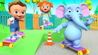 Learn Fruits Names for Children | Little Babies & Elephant Fun Play Skating at Park 3D Kids Videos