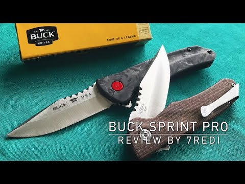 Buck Knives Sprint Pro 841 Review - Marbeled Carbonfiber or Burlap Micarta ?
