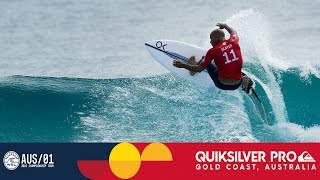 Mick Fanning & Kelly Slater's Opening Exchange in Round One - Quiksilver Pro Gold Coast 2017