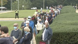 video: Huge queues and four-hour delays as Virginia starts in-person voting for US election