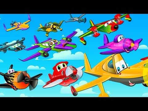 Ten Little Aeroplanes  Counting Song  Nursery Rhymes  Kids Songs