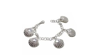 "Stately Steel Seashell Charm Stainless Steel 8"" Bracelet"