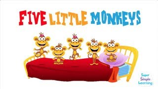 Watch the classic kids' song five little monkeys jumping on the bed...