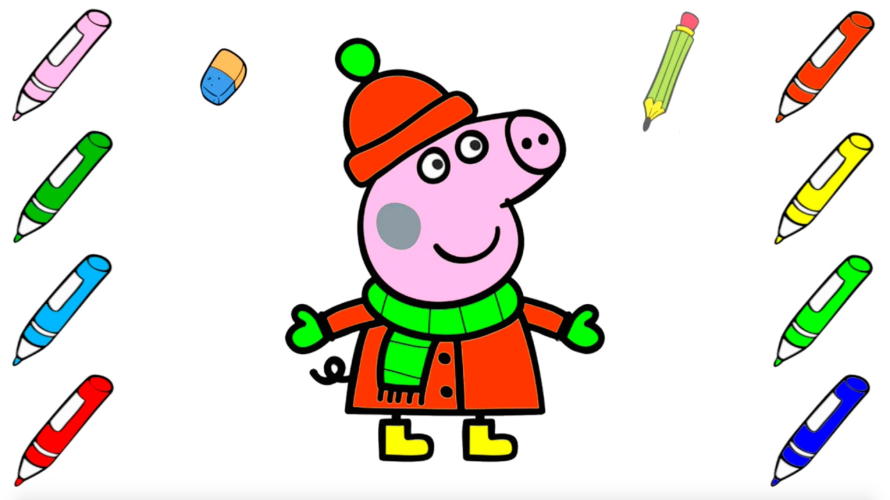Мультик - раскраска Свинка Пеппа. Рисуем Свинку Пеппу и ...