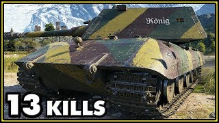 E-100 - 13 Kills - 2 vs 10 - World of Tanks Gameplay
