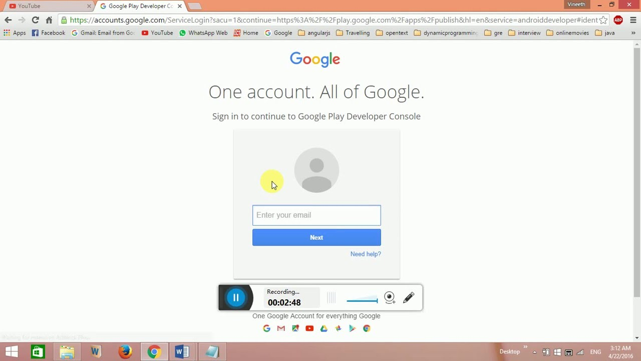 Creating Google developer account for submitting android apps and Games