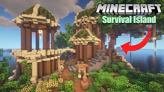 Minecraft Survival Island Transformation   Elven Base Timelapse