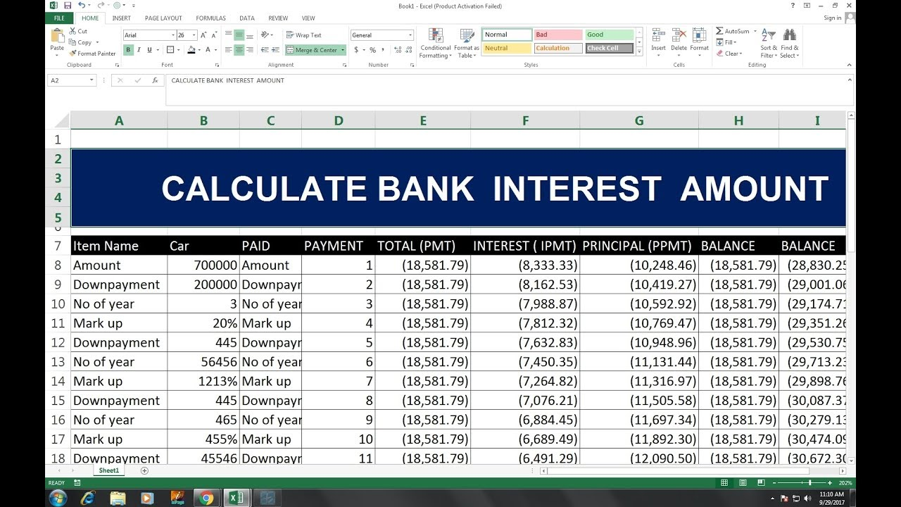 40 hindi calculate interest principal amount excel youtube