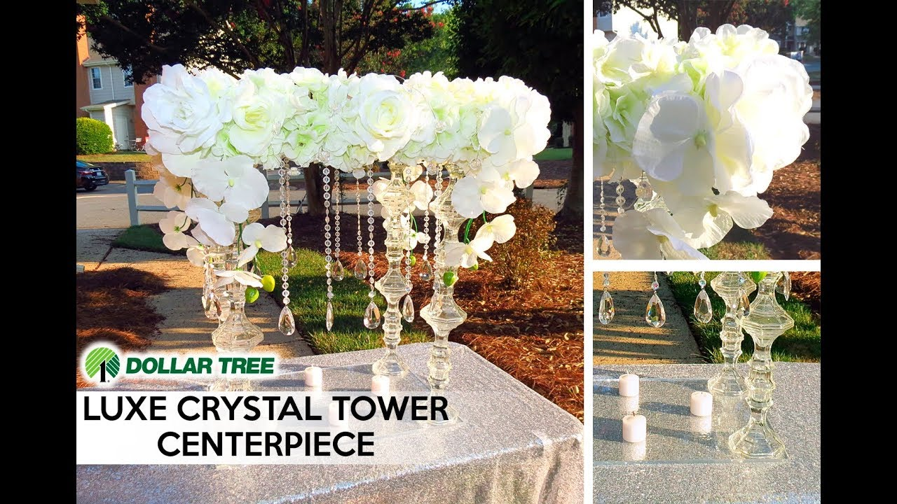 Diy Luxe Tall Tower Crystal Wedding Statement Centerpiece
