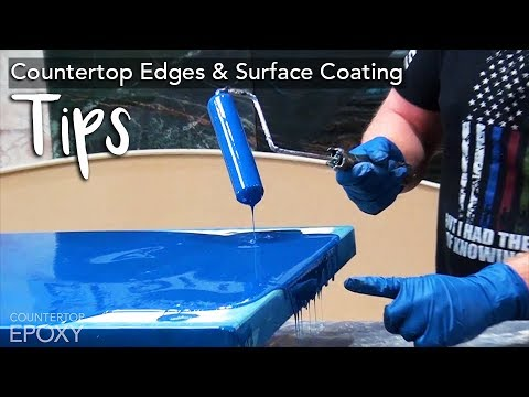 Countertop Edges & Epoxy Surface Coating TIPS! + Epoxy Dirty Pour | Ocean Inspired Countertop