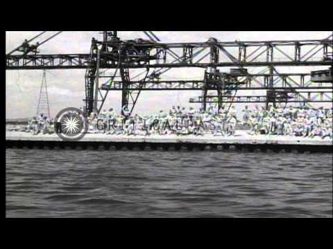Liberated American prisoners embark on USS Benevolence anchored in the Tokyo Bay ...HD Stock Footage