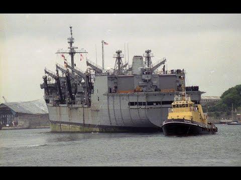 USS KALAMAZOO AOR-6 ENTERS DEVONPORT NAVAL BASE AT DEVIL'S POINT - May 1994 (SLIDE SHOW)