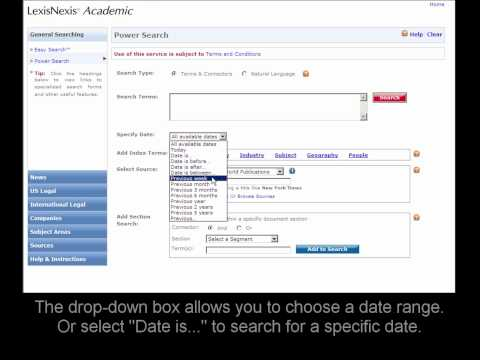 LexisNexis Academic: Searching News by Date