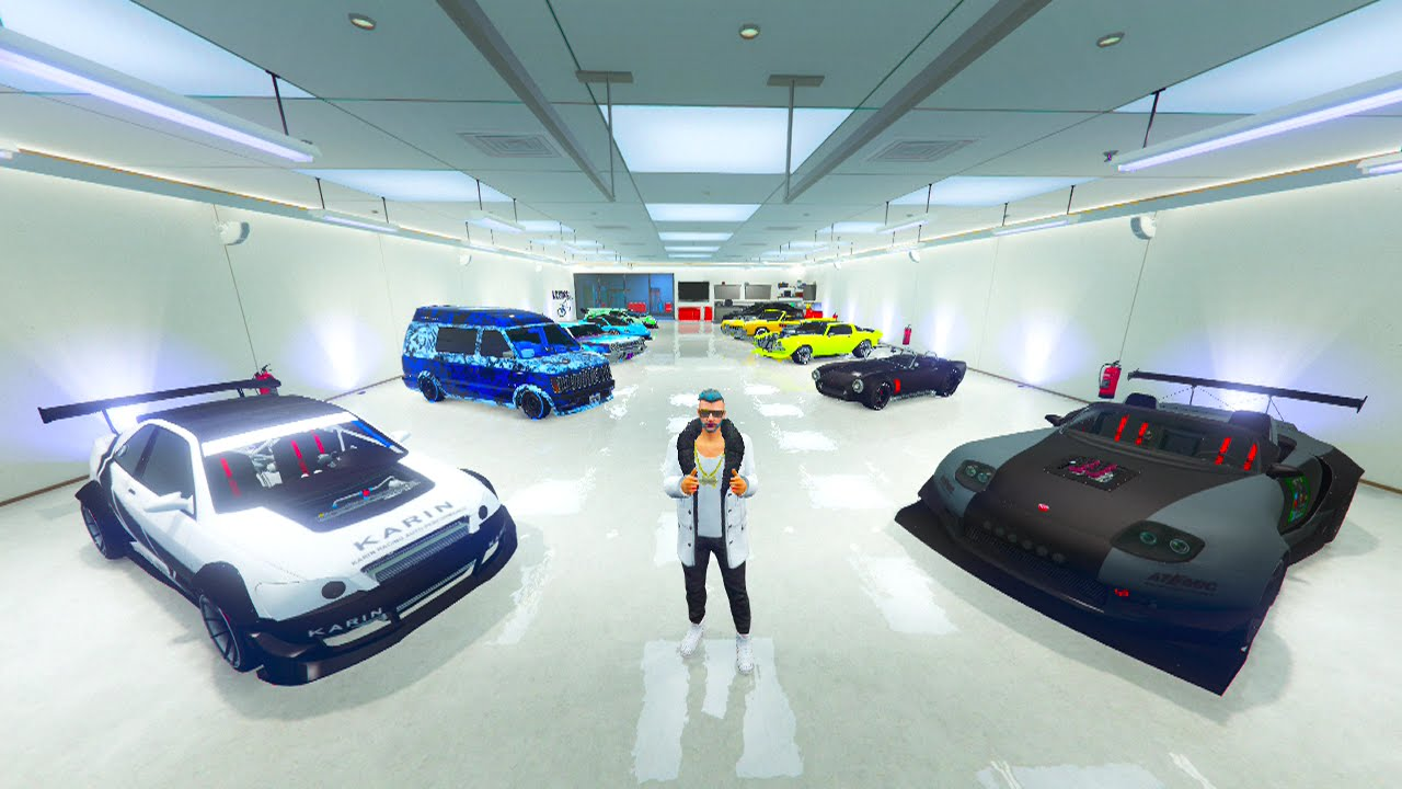 50 000 000 40 car garage tour gta online garage. Black Bedroom Furniture Sets. Home Design Ideas
